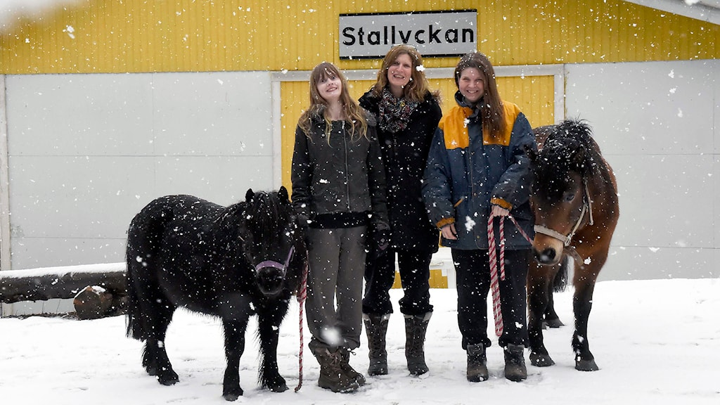 Vinnare i snöyra. Fr.v. Ponnyn Spökplumpen, Dash Löfberg, Ellinor Löfberg som nominerade Jeanette, Jeanette Kobilsek och ponnyn Lillboll. Foto: Joakim Eriksson.