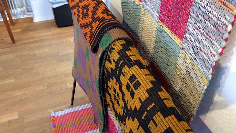 Sally Petterssons vävda mattor. Foto: Adam Koskelainen