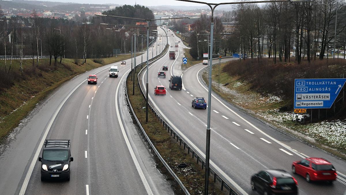 Tullamotet in mot Borås västerifrån. 90-sträcka idag, men snart kanske 110. Foto: P4 Sjuhärad.