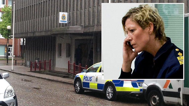 Polishuset i Borås och Lena Matthijs, Polisområdeschef i Sjuhärad. Foto: TT/P4 Sjuhärad.