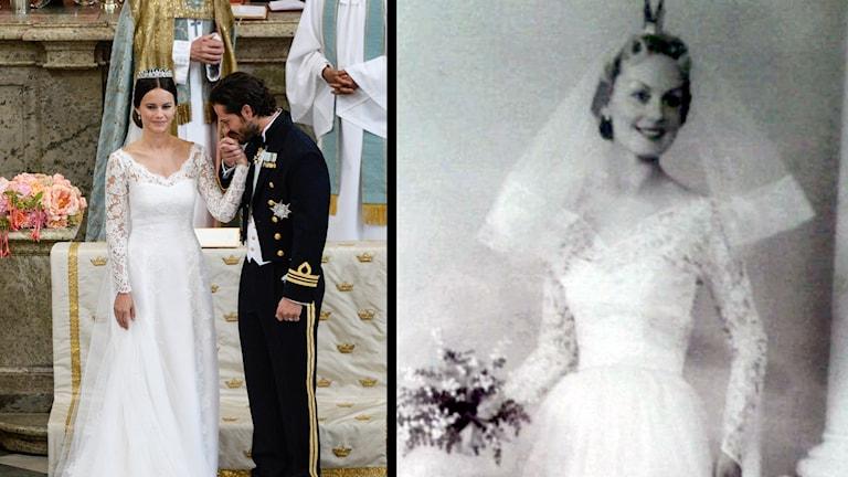 Till vänster prinsessan Sofia tillsammans med Prins Carl Philip. Foto: Pontus Lundahl / TT. Till höger Gulla Broske i sin brudklänning 1956. Foto: Privat