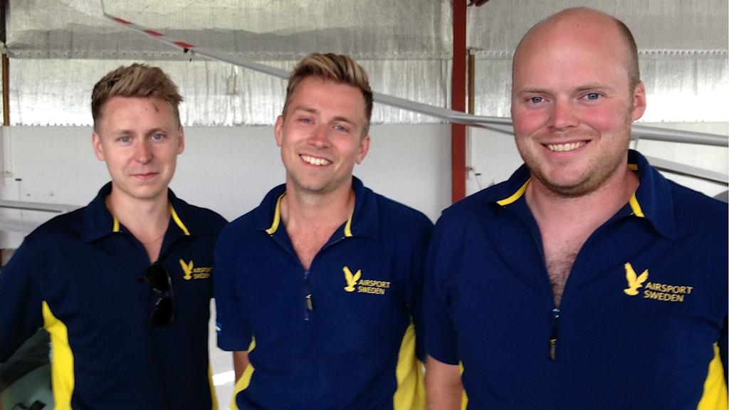 Från väster till höger, Erik Rudsmark, David Gustavsson och Emil Andersson. Foto: Anton Svensson/Sveriges Radio