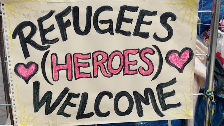 Refugees welcome. Foto: Magdalena Brander/SR