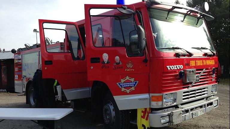 Brandbilen som ska till Mongoliet. Foto: Sofia Kristiansen/SR