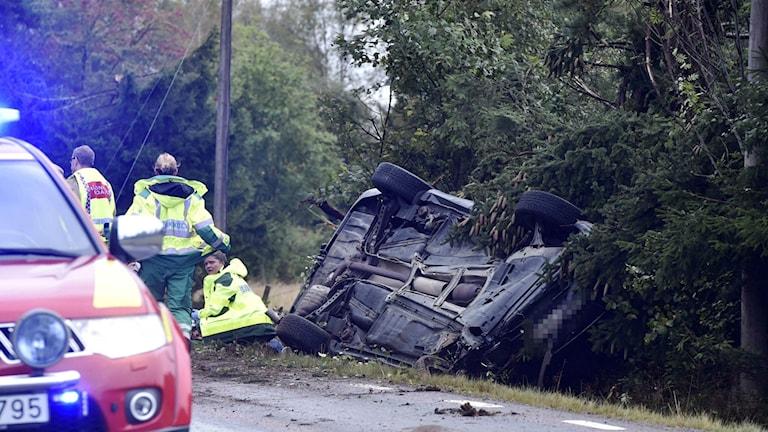 Trafikolycka, på väg 156, mellan Kinna och Svenljunga Foto: Joakim Eriksson