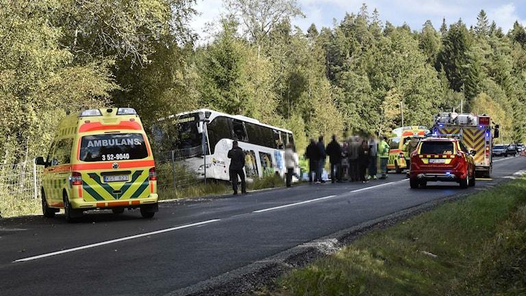 Bussolyckan inträffade strax utanför Örby. Foto: Joakim Eriksson/Agena Foto