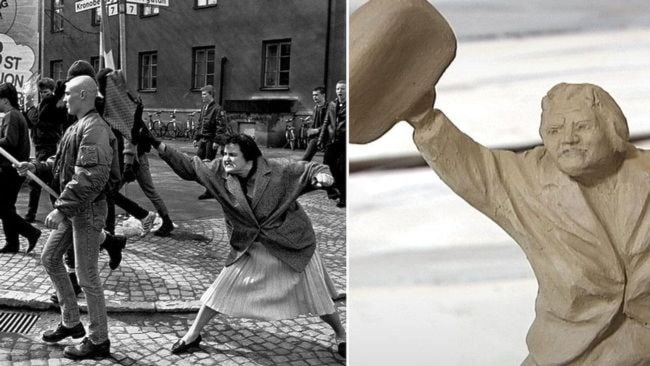 Tanten med väskan. Foto: SVT.