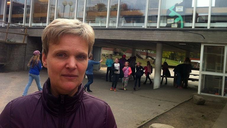 Margareta Röllgårdh, rektor Bollebygdskolan. Foto: Jenny Hellström/SR