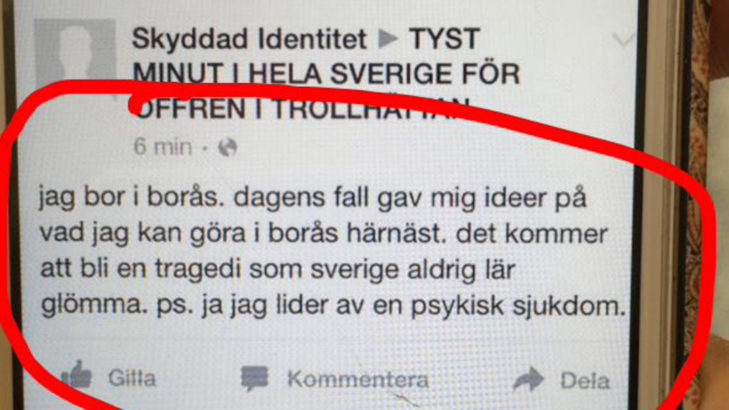 facebookinlägget som skapade panik i Borås.