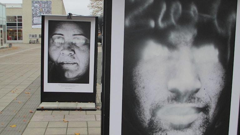 Foton på romer där ögon och mun sprejats med vit färg Foto: Pär Sandin, Sveriges Radio.