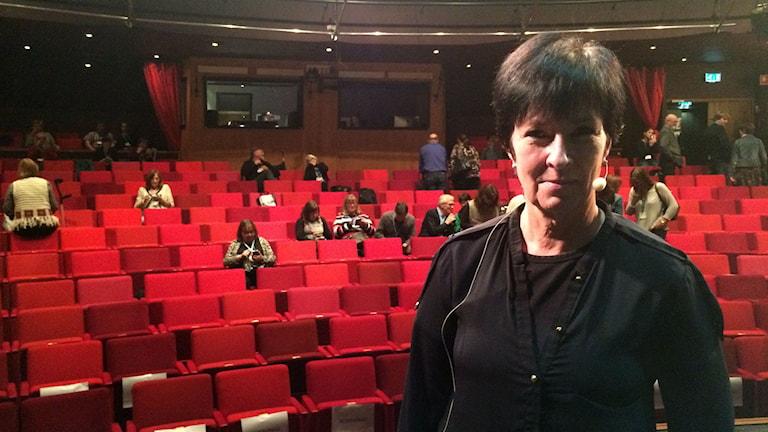 Mona Sahlin på Stadsteatern i Borås. Foto: Melissa Gustafsson/SR