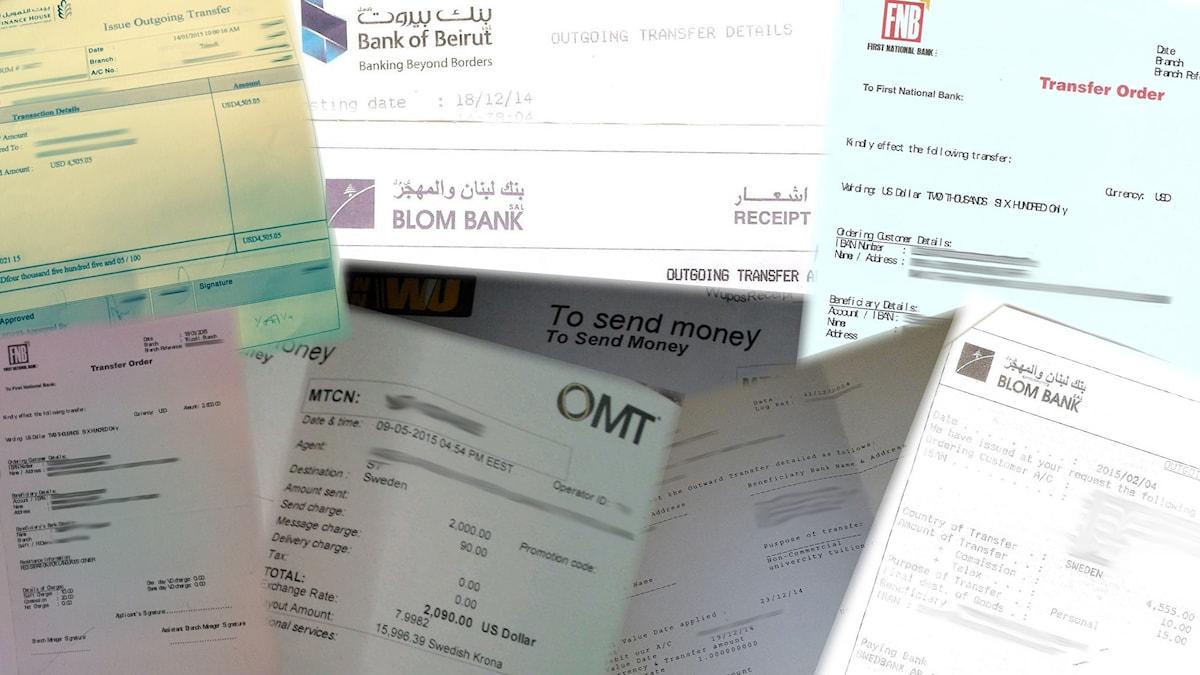 Kvitton på pengar som studenterna betalat till mannen Foto: Montage