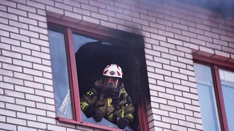 Lägenhetsbrand i Skene Foto: Joakim Eriksson/Agena Foto