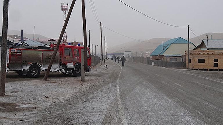 Brandbilen på gränsen till Mongoliet Foto: Firetruck to Mongolia
