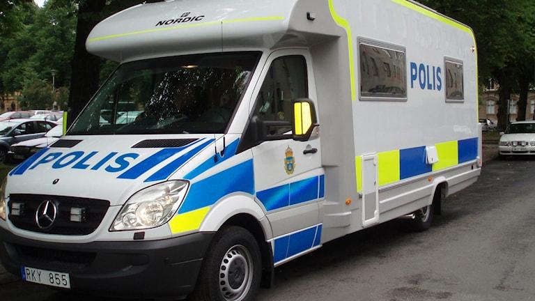 Det mobila poliskontoret i form av en husbil Foto: Polisen