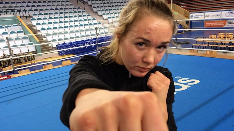 Boxaren Sophia Smith från BK Rebell i Borås. Foto: Niclas Odengård/SR