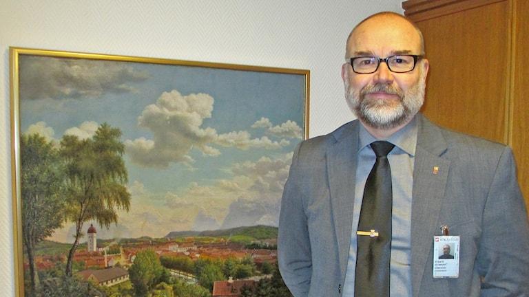 Spindeln i nätet för den stora omorganisationen i Borås är Svante Stomberg, kommunchef i Borås. Foto: Pär Sandin, P4 Sjuhärad, Sveriges Radio.