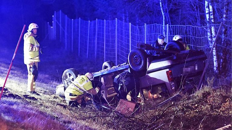 Olycka, Annandagen, länsväg 156, Haratången. Foto: Agena Foto