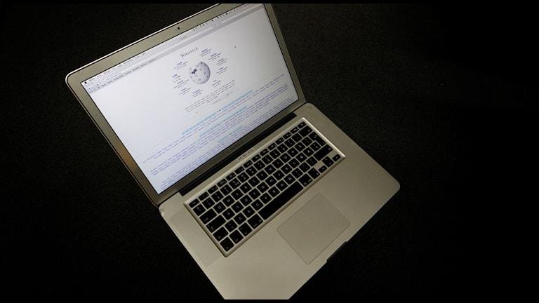 Dator med Wikipedias hemsida Foto: Håkon Mosvold Larsen/TT
