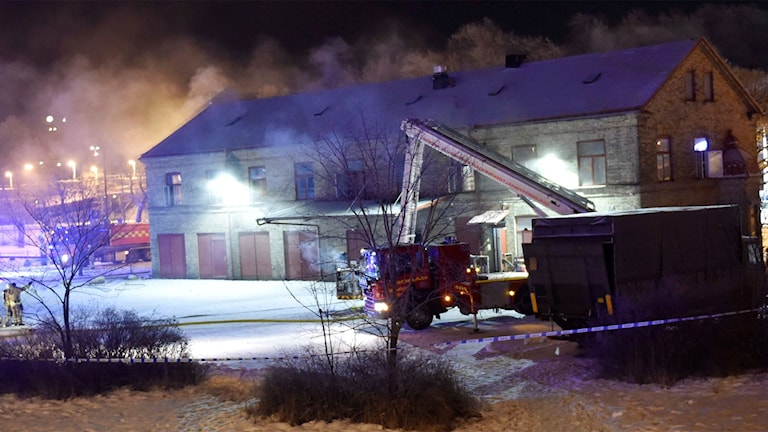 Moskebrand i Borås. Foto Agena Foto / Joakim Eriksson.