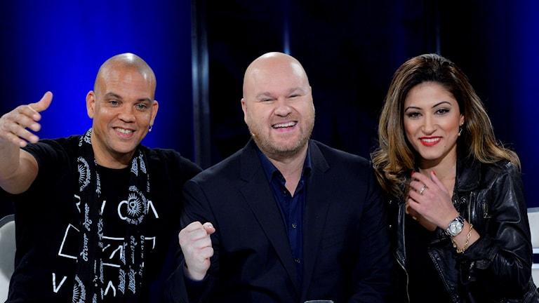 Quincy Jones III, Fredrik Kempe och Nikki Amini blir nya Idoljuryn. Foto: Anders Wiklund/ TT