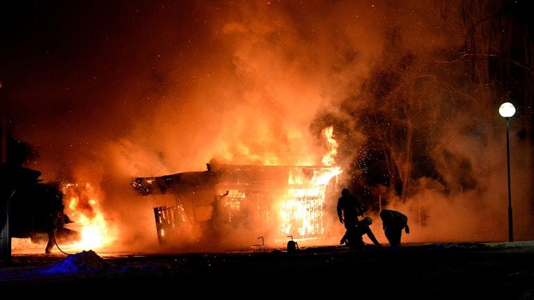 Tre bildar förstördes och flera fick skador vid branden.