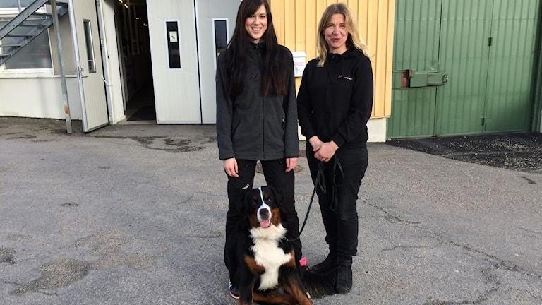 Hundskolan Sandra Glanzén och Kristin Holmberg med hunden, sennentiken Ztella.