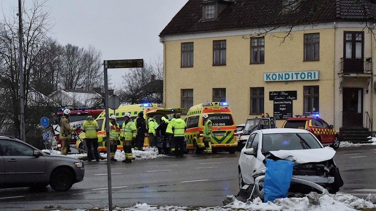 Trafikolycka på Varbergsvägen i centrala Skene.