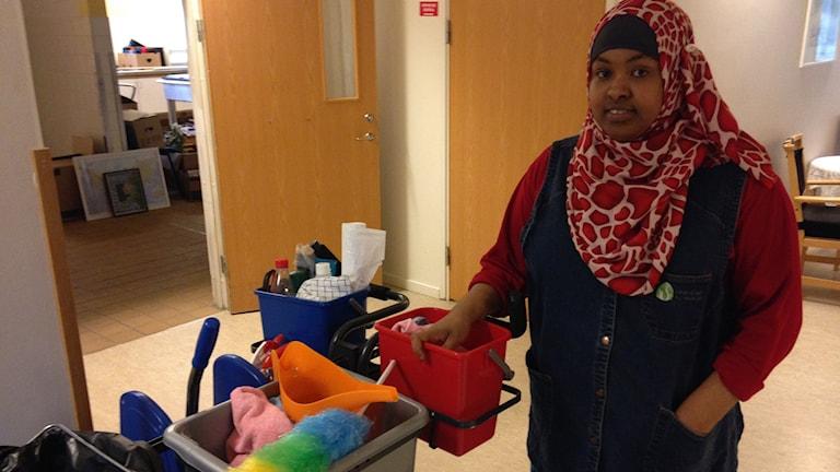 Idil Ahmed fick sitt första jobb som lokalvårdare i Tranemo.