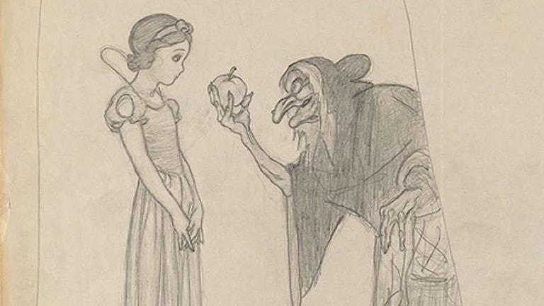 Detalj av teckningen Snövit och de sju dvärgarna (1937), Gustaf Tenggren.