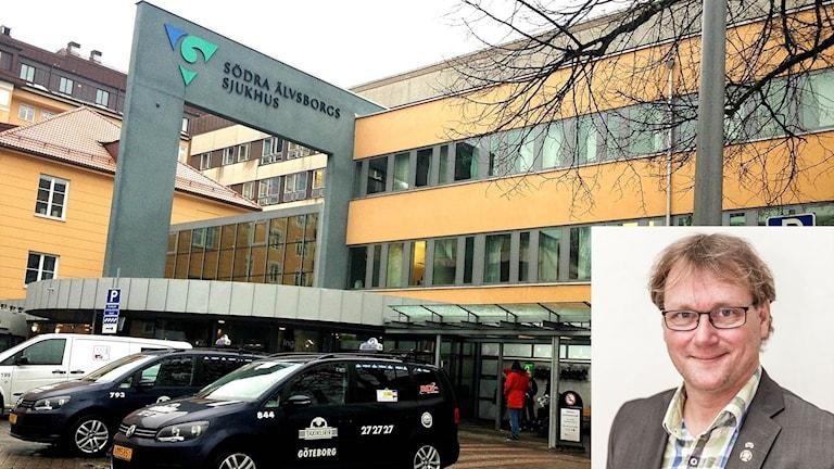 Montage: Jonas Andersson och bild på Södra Älvsborgs sjukhus.