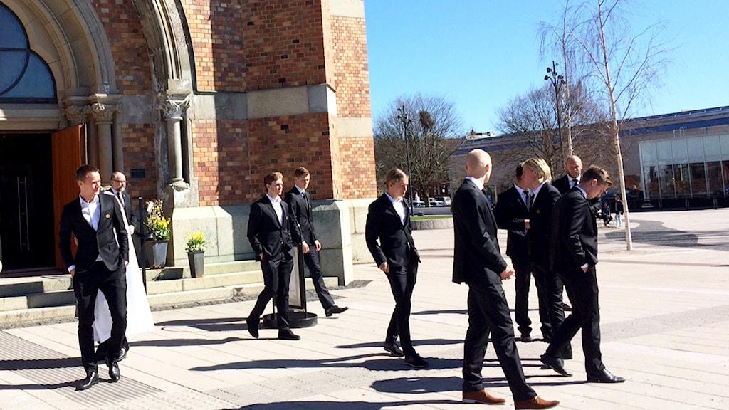 Elfsborgs a-lag var bland dem som hedrade Olle Blomqvists begravning i Gustav Adolfskyrkan.