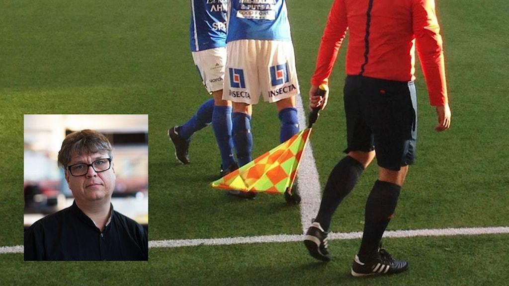 Bild från en fotbollsmatch och infälld bild på Magnus Svenungsson.