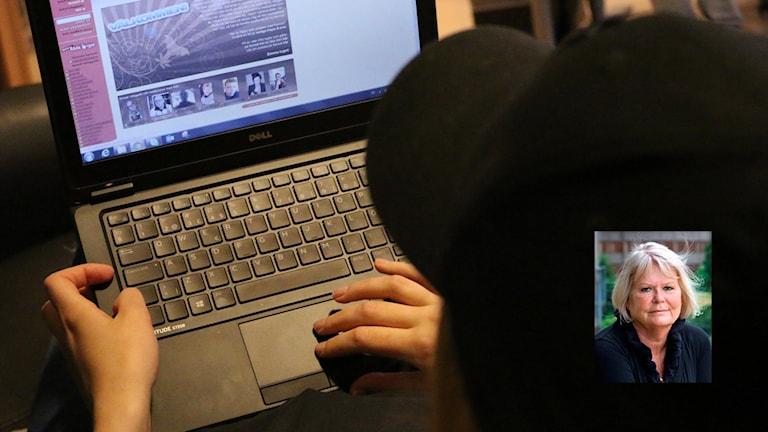 Bild på flicka som surfar på nätet, infälld bild på Inga Tidefors.