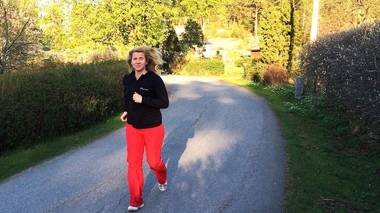 Kristin Holmberg springer för första gången i Löparskolan