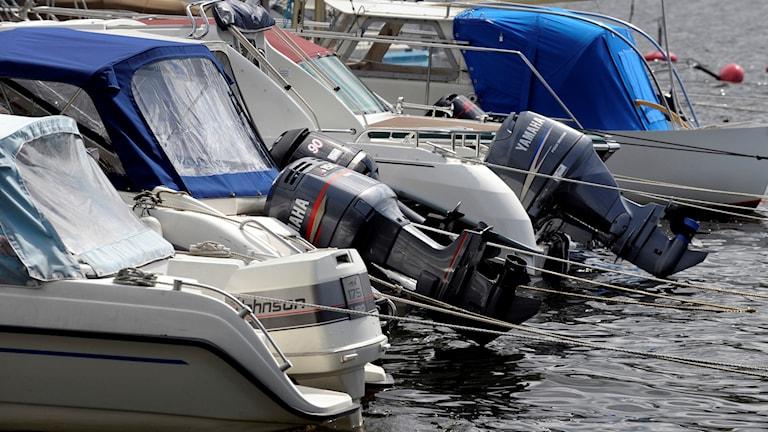 Motorbåtar i hamn.
