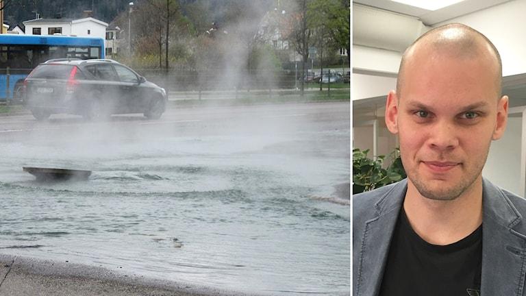 Olle Penttinen och bild på en översvämmad gata där vatten läcker.