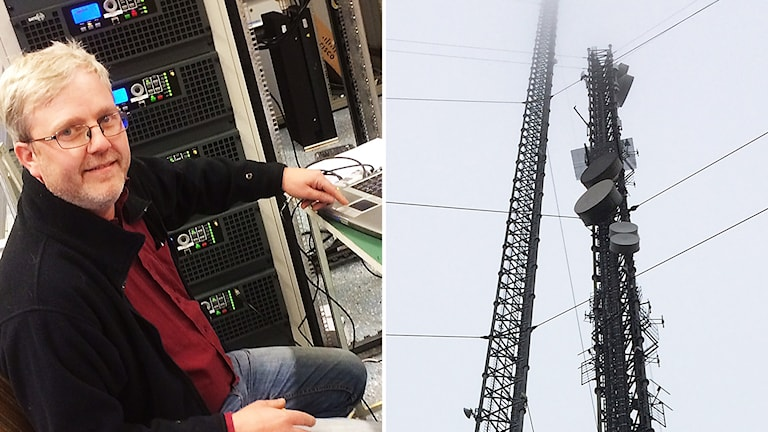Radiolyssnaren Magnus Wollin fick trycka igång den nya radiomasten i Häglared.