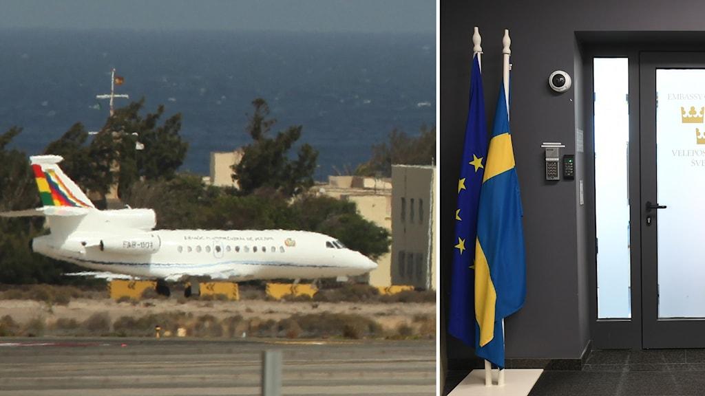Flygplan Gran Canaria och svensk ambassad.