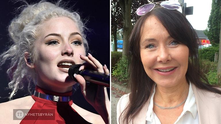 Artisten Wiktoria Johansson och hennes mamma Anki.