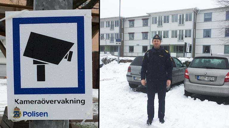 Polis framför bilar på parkering.