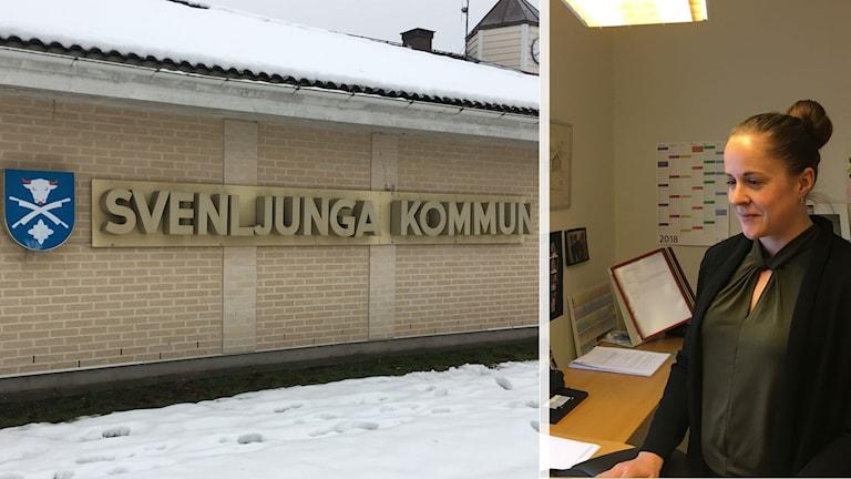 Kombibild på kommunhuset i Svenljunga kommun och på Emelie Risbeck när hon står upp vid ett skrivbord framför en dator