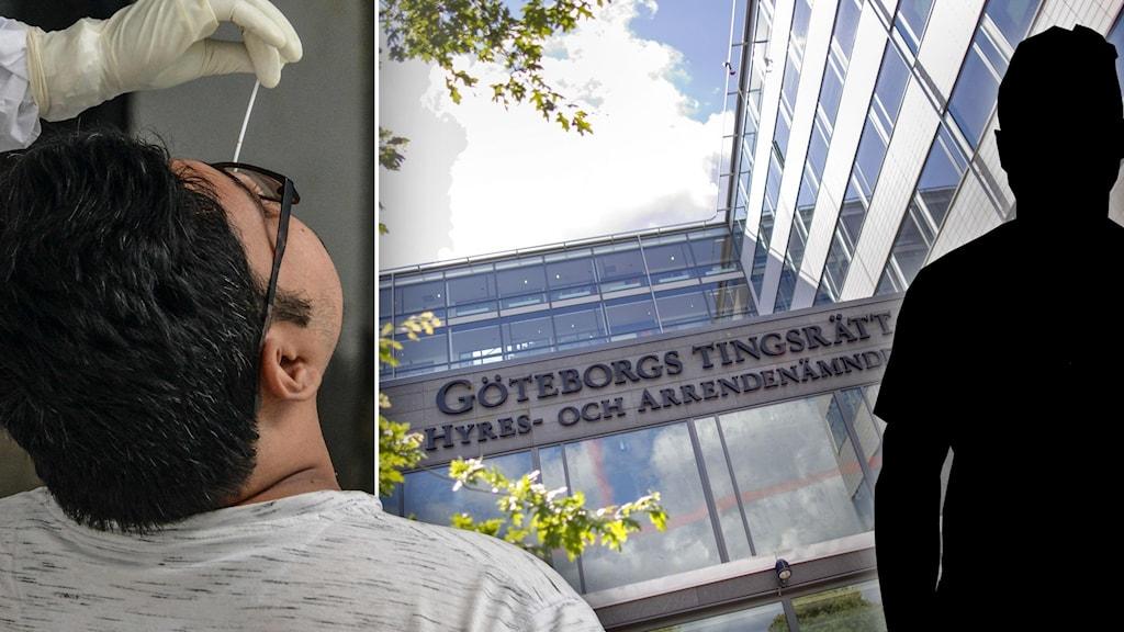 Till vänster en man som gör ett pcr-test. Till höger ser vi ett glashus med texten göteborgs tingrätt. längst ut i bilden en svart siluett av en man.