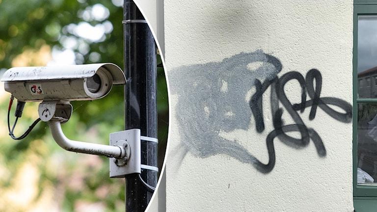 Övervakningskamera inklippt i bild på klotter.
