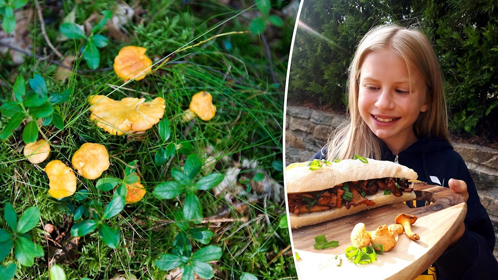Mästerkocken Agnes Fredriksson med en svampbaguette.