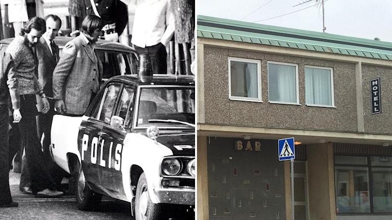 Arkivbild på Clark Olofsson och Herrljunga Hotell sett utifrån.