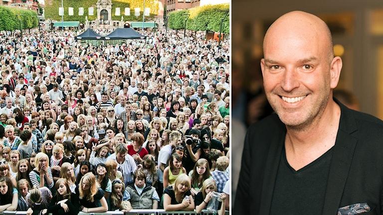 publik på sommartorsdagar i Borås, och man i svart kavaj.
