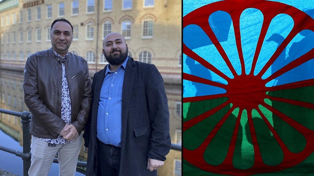 Robert Simonovic och Kadri Rezepi, och del av den romska flaggan