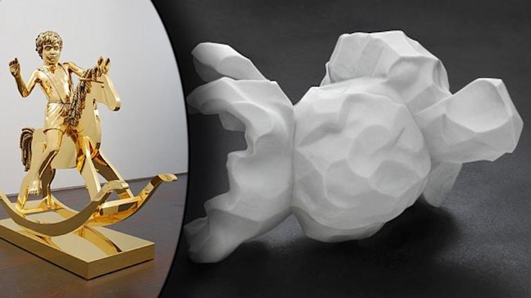 En pojke på en gunghäst helt i guld, och en vit marmorstaty som ska föreställa ett förstorat popcorn.