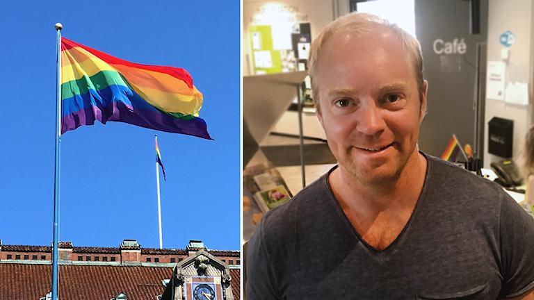 Lukas Svärd föreläser under Borås Pride 2019.